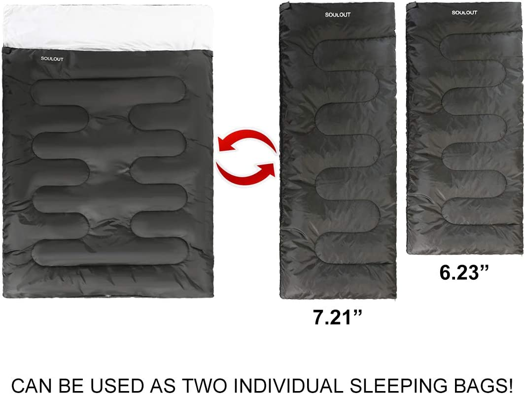 SOULOUT Sleeping Bag Indoor /& Outdoor: Camping Backpacking Waterproof Sleeping Bag with Compression Sack for Adults /& Kids Portable Hiking 4 Seasons Warm Cold Weather Lightweight