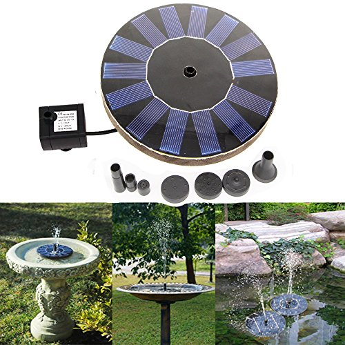Solar Power Bird Bath Fountain,Solar Panel Water Floating Fountain Pump Kit for Bird Bath,Fish Tank,Small Pond,Garden Decoration (Solar Powered Fountain)