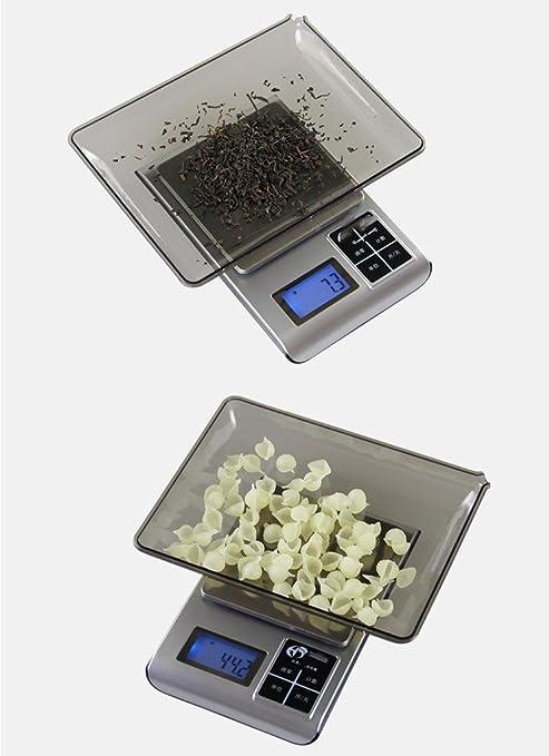 Escala de la cocina de la precisión que pesa 0.01g escala de la joyería de la escala de 0.1 gramos El té herbario chino que cuece al horno el balance de la ...