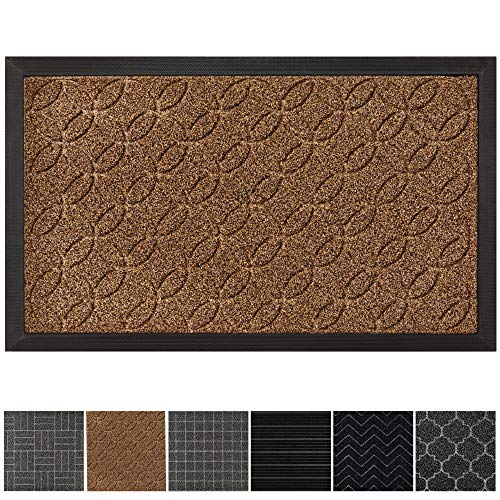 GRIP MASTER Durable, Tough All-Natural Rubber Doormats (29x17 Size) Waterproof Commercial High Traffic Indoor Outdoor Door Mat, Boot Scraper Mats, Entryway, Low-Profile Easy Clean (Beige Basket Weave)