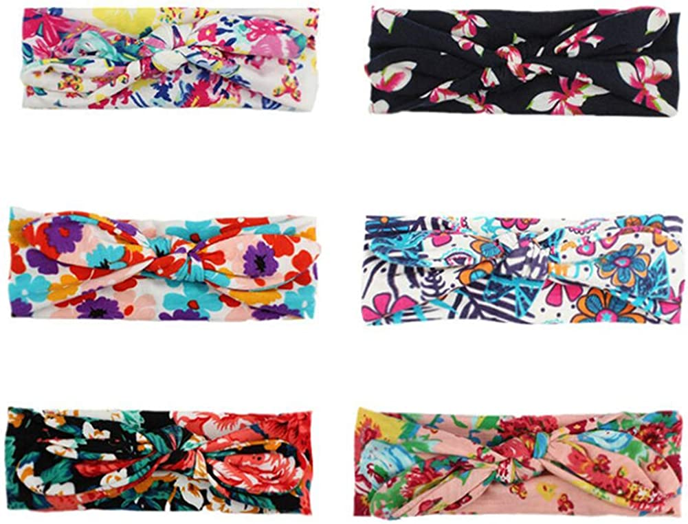 6 Pcs Baby Headband Headband Boho Baby Girls Headwrap Print Floral Knotted Hairband For Newborn Childrens Gift Baby Girls Toddler Headdress Hairband Photography Accessories