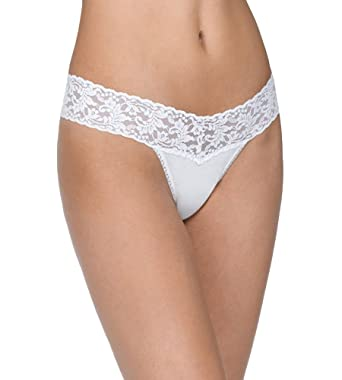 8b2ed00e592 Hanky Panky Organic Cotton Low Rise Thong with Lace 891581 - White - One  Size at Amazon Women's Clothing store: