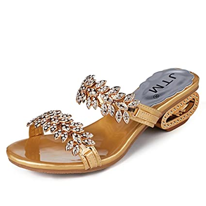 13a1dfa8b60df Women Sandals, Joint 2018 Summer Bohemia Faux Rhinestone Slipper Roman Mid  Heel Open Toe Sandals