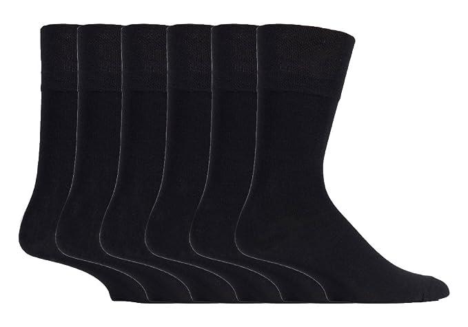 Gentle Grip - 6 pares hombre fantasia bambu calcetines sin elasticos para la circulacion (39