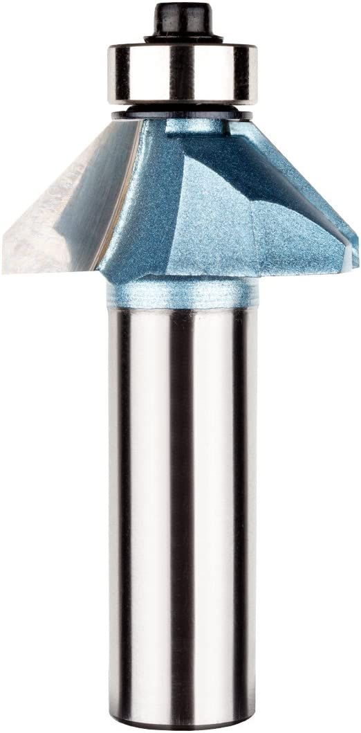 uxcell 1-7//32-inch Dia 1//4-inch Shank Carbide Tipped Chamfer Router Bit 45 Degree with 1//2-inch Cutting Length