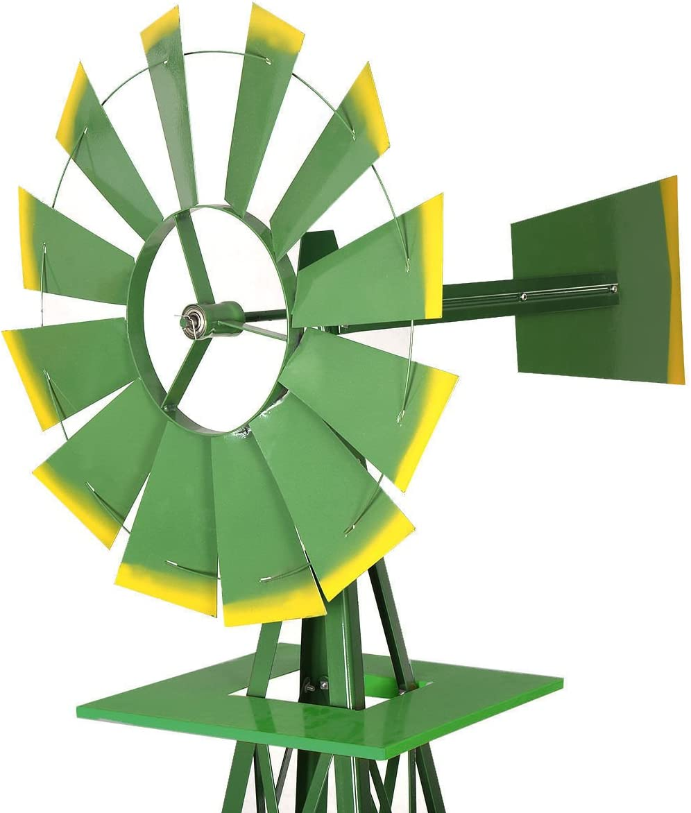 1 Set of Green and Yellow 8' Tail Windmill Ornamental Wind Wheel Garden Weather Vane