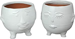 Things2Die4 Pair of Adorable White Ceramic Mr & Mrs His and Hers Head Shaped Decorative Planters