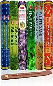 Six Most Popular Hem Incense Scents of All Time, 120 Sticks Total, with Free Burner - 20 Sticks Each of Dragon's Blood, Frank