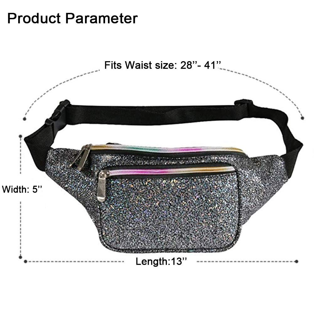 Travel Party Neon Rave Waist Fanny Pack with Adjustable Belt for Festival Holographic Fanny Pack for Women /& Men