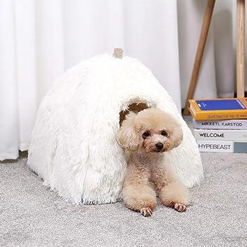 Miniwild Casa de Lujo para Mascotas, Perros de Felpa, Cama de Felpa acogedora para Gatos, Perros pequeños con cojín extraíble y Parte Inferior ...