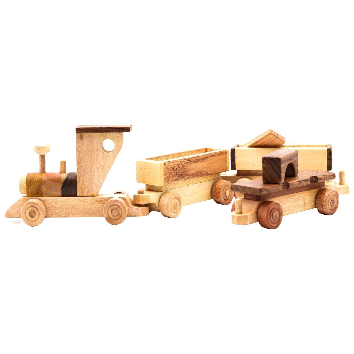 Hajito Wooden Toy Train Play Set, Push Toys, Wooden Toddler Toys, 27'' Long