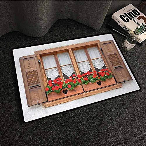 - DILITECK Thin Door mat Country Print of Old European Windows with Shutters and Flowers Pots in Rurals Boho All Season General W16 xL24 Brown White Red