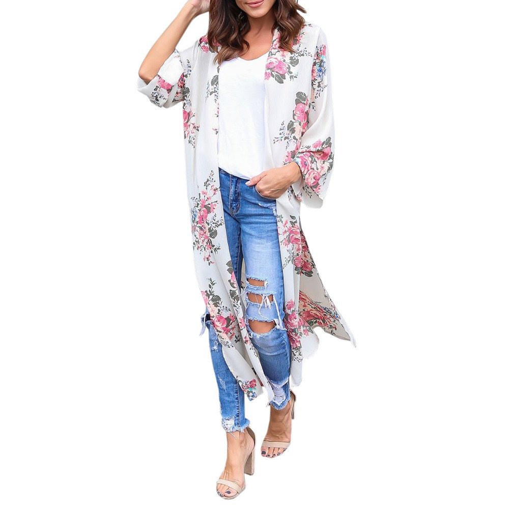 DAY.LIN Kleidung Damen Womens Chiffon Blumendruck Beachwear Kimono Bikini Boho Cardigan Sieben-Punkte-Ärmel Chiffon Langen Kimono-Cardigan