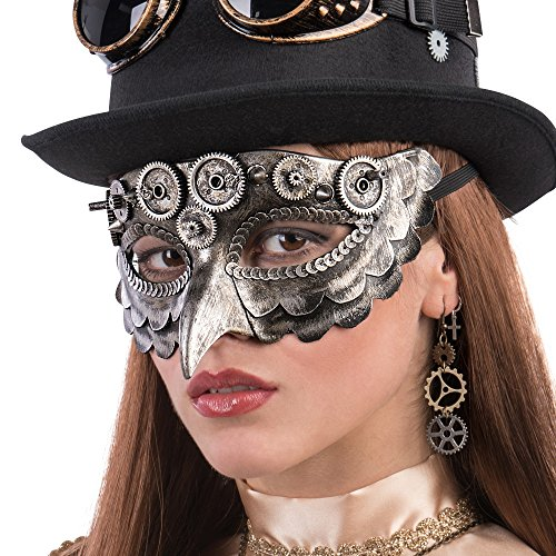 Carnival Toys 1762 Steampunk Owl Mask, Brown, One Size
