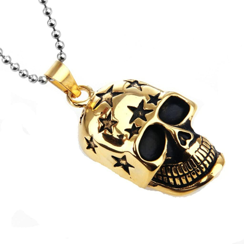 MoAndy Stainless Steel Jewelry Stainless Steel Necklace Men Pendant Necklace Stars Skull Silver