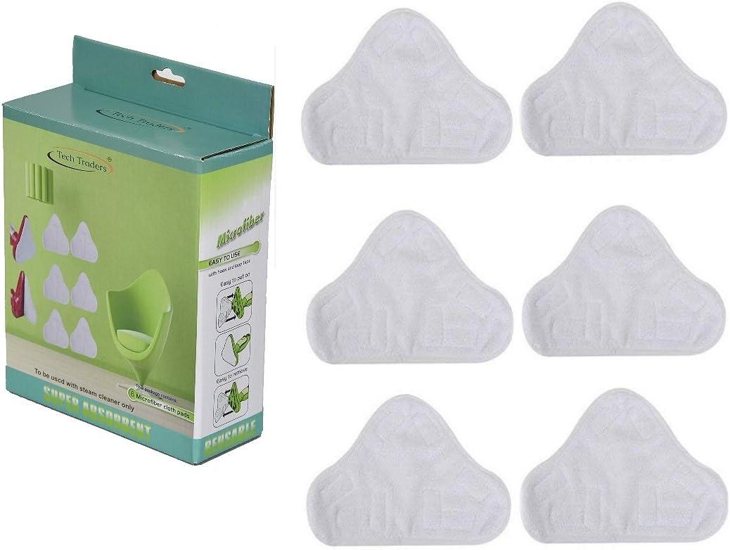 lavabili e lavabili XAVSWRDE 8 panni di ricambio per scopa a vapore in microfibra cuscinetti di ricambio per pulitore a vapore Steam Mop Pad per pulitore a vapore con triangolo bianco triangolari