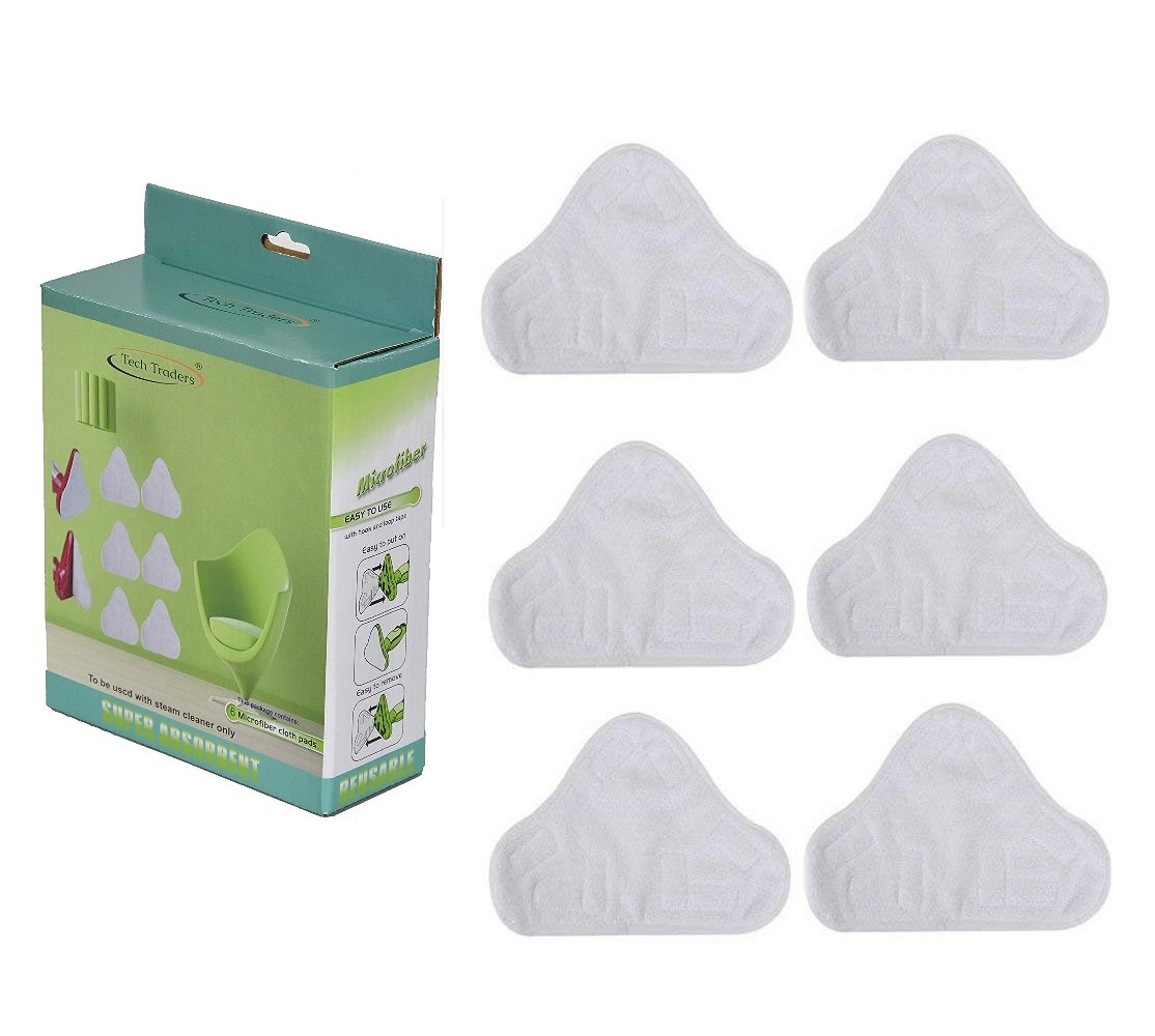 Tech Traders /® Set of 6 Microfibre Steam Mop Triangular Floor Washable Replacement Pads for H2O H20 X5 UK and many others