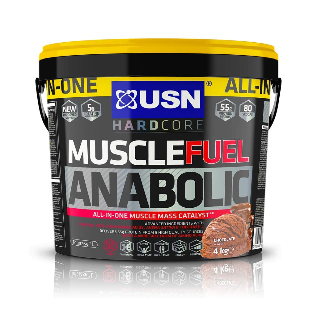 USN Muscle Fuel Anabolic Chocolate Protein Shake 4KG: Workout Boosting All in One Muscle Gain Protein Powder