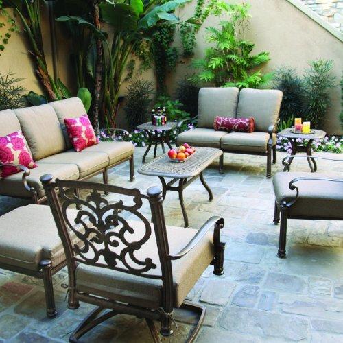 Darlee Santa Barbara 8 Piece Cast Aluminum Patio Conversation Seating Set - Mocha ()