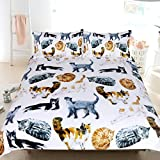 Sleepwish 3 Pcs Cat Bedspread Cute Hipster Cats Pattern Bedding Funny Animal Duvet Cover Pastel Color Nature Bed Set (Twin)