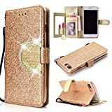UEEBAI Wallet Flip Case for iPhone 6 Plus, Glitter PU Leather Cover with Mirror [Diamond Buckle] [Card Slots] [Magnetic Clasp] Stand Function Gems Soft TPU Case for iPhone 6 Plus/6S Plus - Gold#2