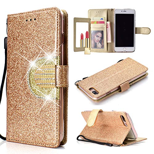 UEEBAI Wallet Flip Case for iPhone 6 Plus, Glitter PU Leather Cover with Mirror [Diamond Buckle] [Card Slots] [Magnetic Clasp] Stand Function Gems Soft TPU Case for iPhone 6 Plus/6S ()