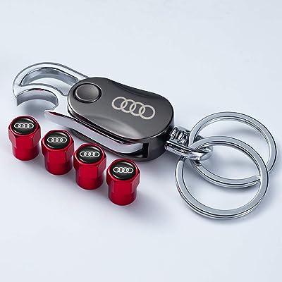 PATWAY 5 Pcs Metal Car Wheel Tire Valve Stem Caps Suit for Audi S Line S3 S4 S5 S6 S7 S8 A1 A3 RS3 A4 A5 A6 A7 RS7 A8 Q3 Q5 Q7 R8 with Key Chain Logo Styling Decoration Accessories: Automotive