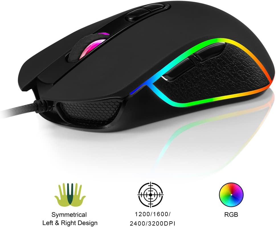 RGB Gaming Mouse Accro Xtrem Wired Computer Mouse Optical Mouse with 4 Adjustable Levels 1200-3200 DPI Comfortable for All Hand Sizes - Ambidextrous & Ergonomic Grip for Laptop Gamer