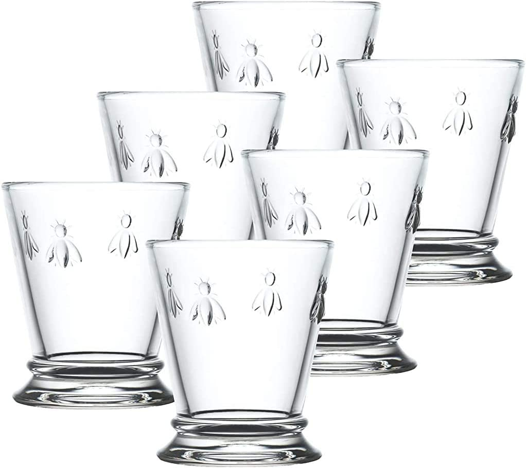 Amazon Com La Rochere Napoleon Bee Tumblers Set Of 6 10 Oz Clear Glass Tumbler W The French Bee Embossed Design Fine French Glassware Drinking Glasses Heavy Water Glasses
