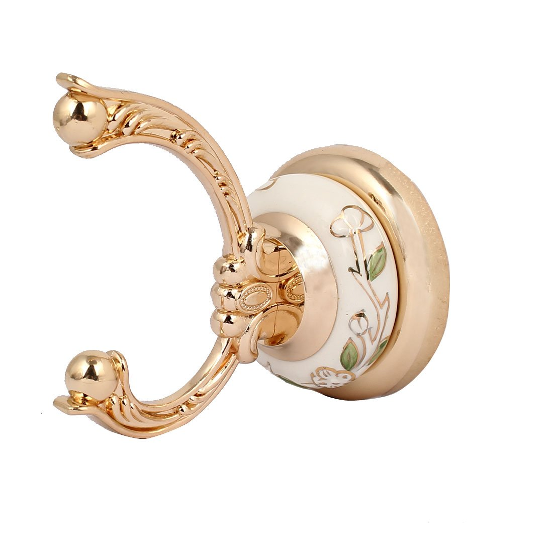 uxcell Metal Flower Pattern Double Hooks Screw Mounted Round Base Wall Hanger Gold Tone