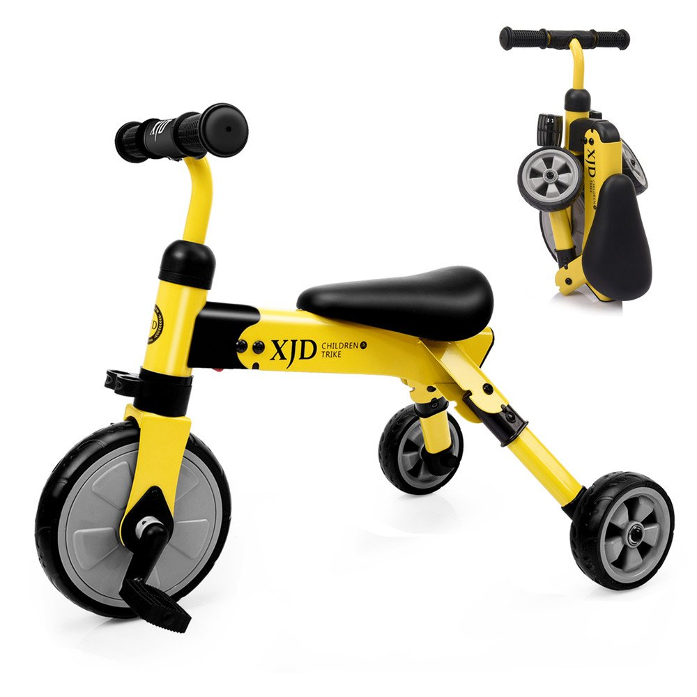 XJD 2 in 1 Toddler Trike Foldable Tricycles Baby Balance Training Kids Riding Walking Toys for 2+ Years old Boys Girls Gift (Yellow)