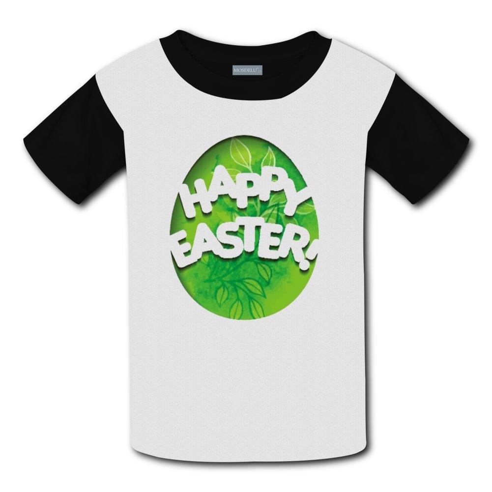 Shirt XiuHongShangMAo Unisex Kids Happy Easter Round Collar Short Sleeve T