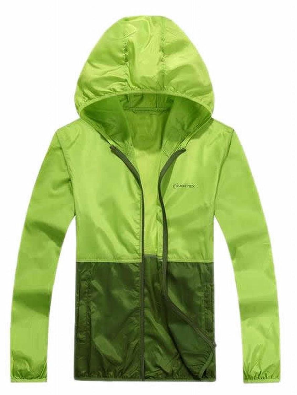 Vska Women Sun Protection UV Protect Splice Color Hooded Coats