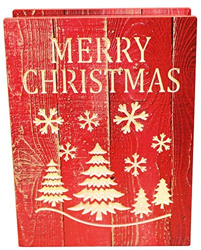Christmas Festival 20 LED Illuminated Table Desk Wood Decoration Light Ornaments (Christmas Tree & Snowflake Red Paint)