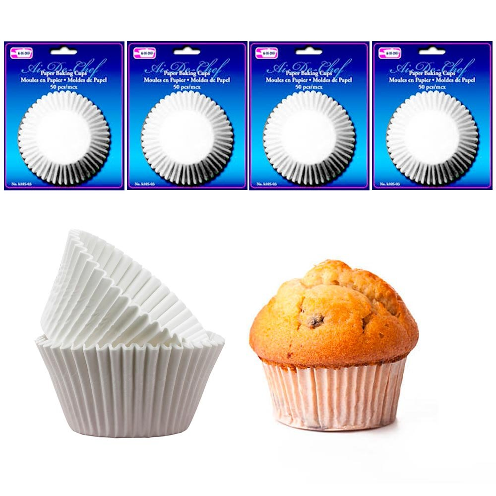 Amazon.com: 200 Pc Paper Baking Cups Molds Cupcake Muffin Parchment Liners Bake Party White: Office Products