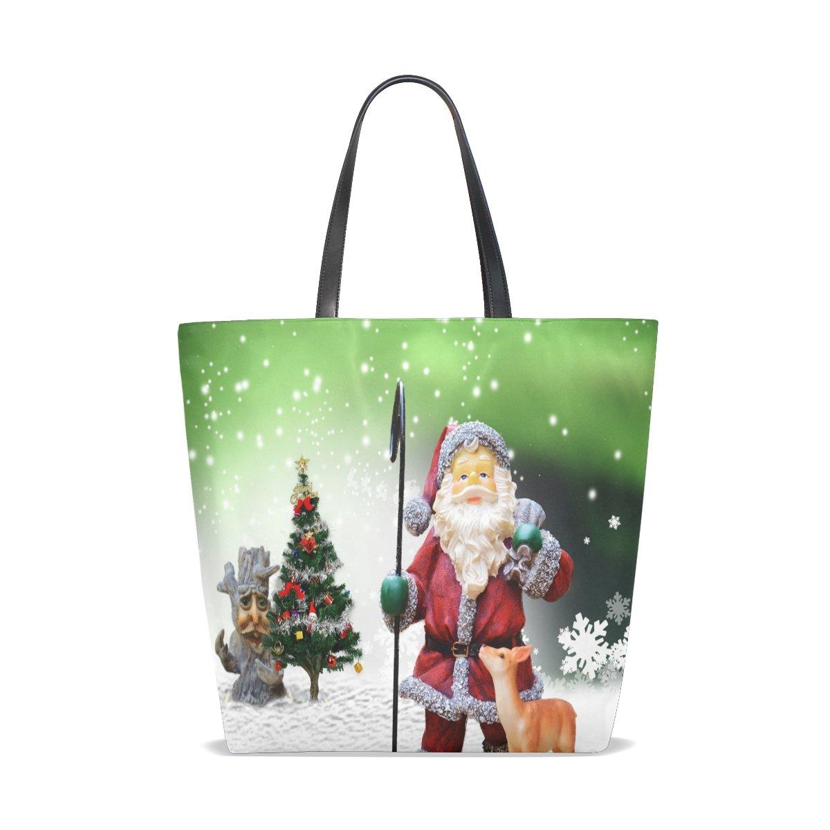 AHOMY Christmas Santa Claus Tree Snowflake Elk Lady Personalized casual Shoulder Bag Satchel Handbag Tote Bag Handbag for Women Girls