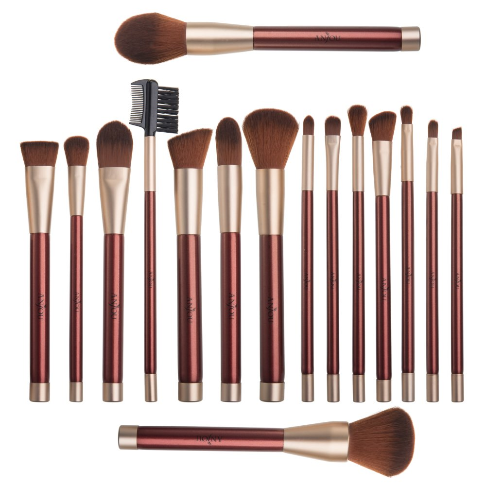 16 Pcs Makeup Brush Set Premium Cosmetic Brushes - Wine Red
