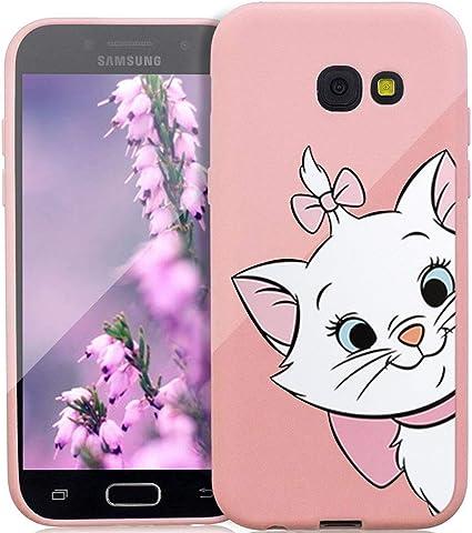 ZhuoFan Coque Samsung Galaxy A5 2017, Etui en Liquide Silicone 3D Rose avec Motif Dessin Antichoc TPU Housse de Protection Case Cover Bumper Coque ...