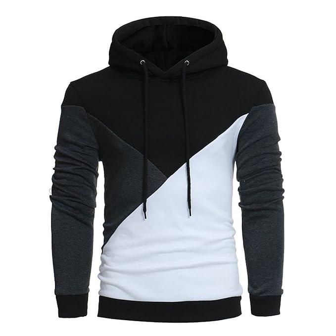 845e1d0ed350e Ankola Men s Patchwork Slim Fit Hooded Sweatshirt Pullover Hoodie Cheap  Tops Outwear (M