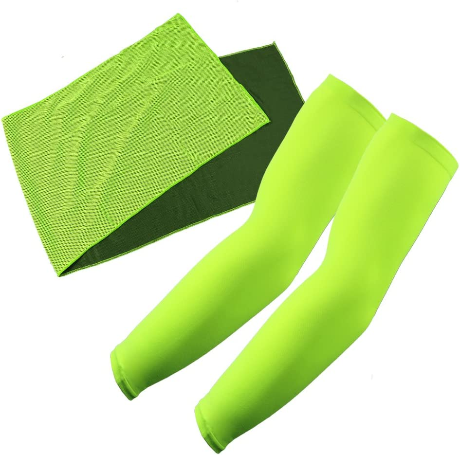 The Elixir Summer Cooling Kit (Arm Cooler + Cool Towel Set) - UV Protective Arm Sleeve and Evaporative Chill Towel for Sports Golf Cycling