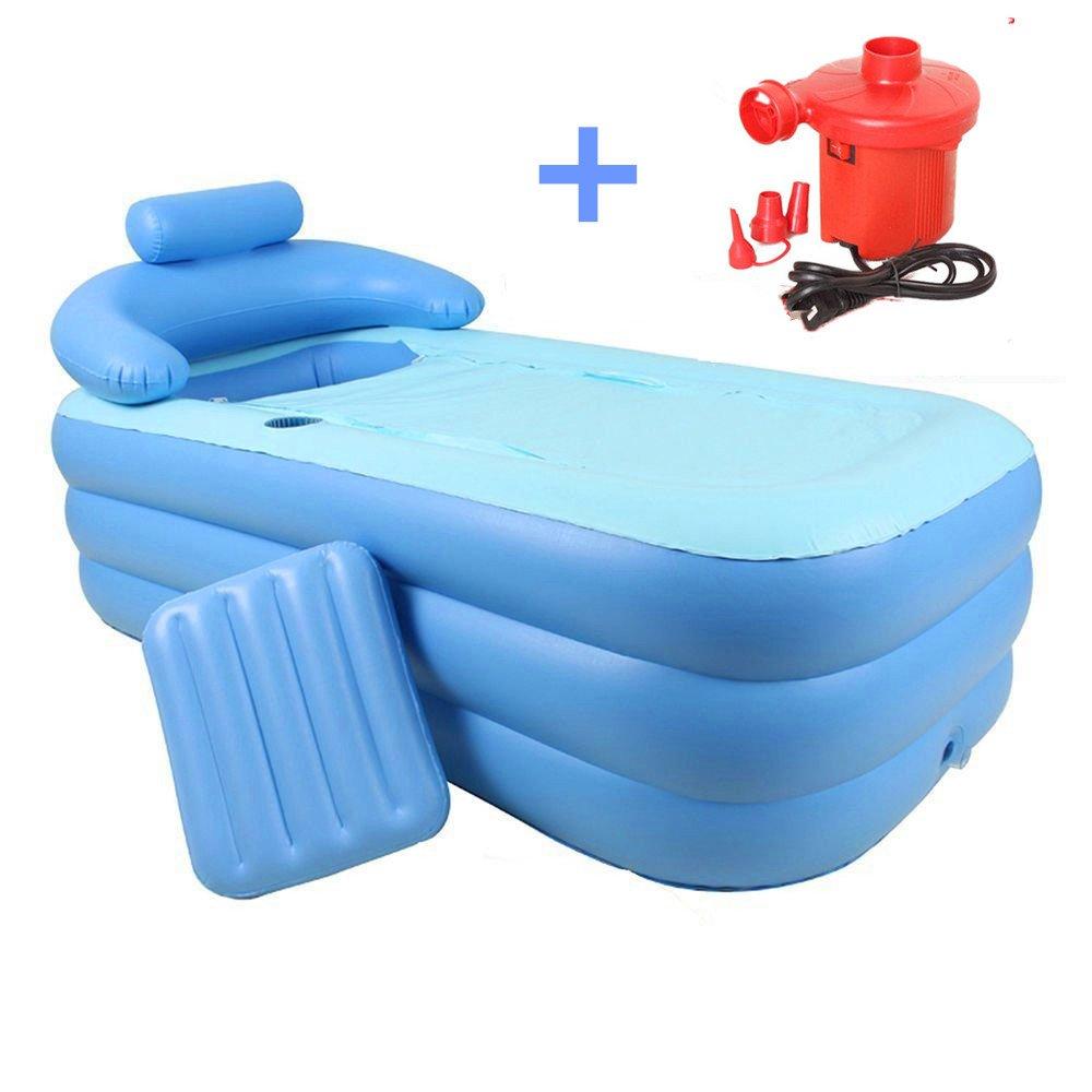 Best Bathtub Folding Portable Foldable Bathtub Inflatable Adult PVC Bath Tub Air Pump Blue
