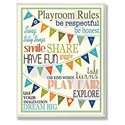 Stupell Decor Playroom Rules With Pennants Wall Plaque