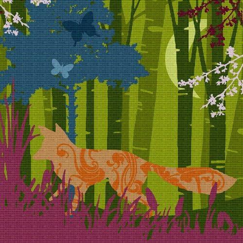 Art Needlepoint Fox Silhouette Needlepoint Canvas by Laura Hunter