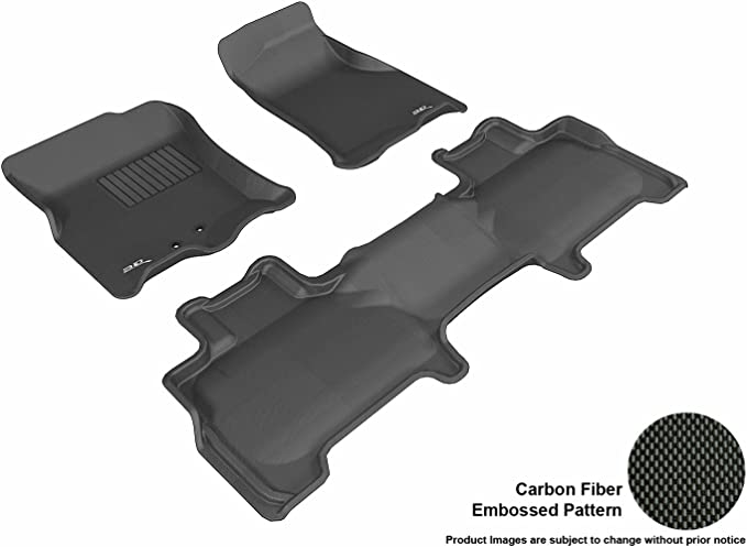 Kagu Rubber 3D MAXpider L1CH04901509 Complete Set Custom Fit All-Weather Floor Mat for Select Chevrolet Tahoe Models Black