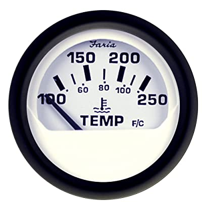 "Faria 12904 Euro Water Temperature Gauge 100-250 F° -White, 2"": Automotive"