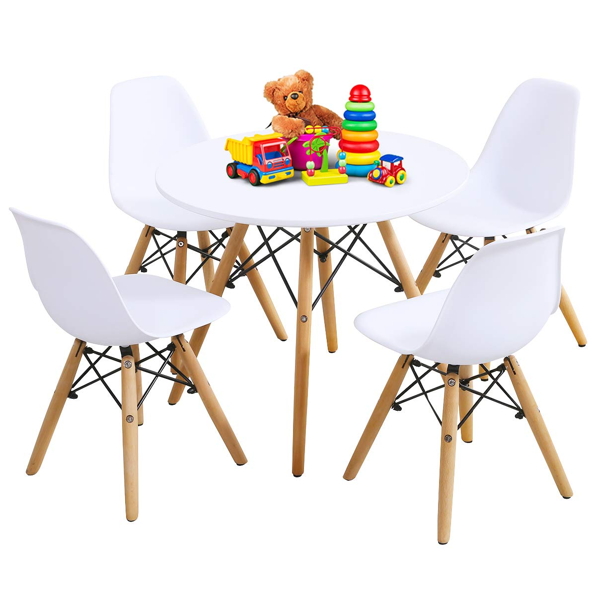 Costzon Kids Table and Chair Set, Kids Mid-Century Modern Style Table Set for Toddler Children, Kids Dining Table and Chair Set, 5-Piece Set (White, Table & 4 Chairs)
