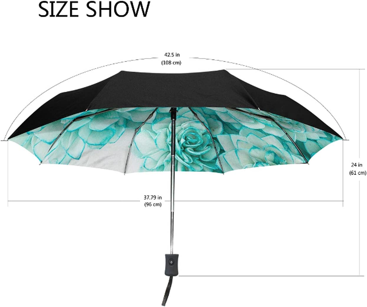 Auto Open Close and Upgraded Comfort Handle Travel Umbrella 8 Ribs Finest Windproof Cute Kitty Umbrella with Teflon Coating