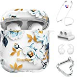 KINGXBAR Airpods Case Cover, Clear Hard Airpods Cover Bling Crystals from Swarovski Gardenia Flower Design with AirPods Strap/Ear Hook/Watch Band Holder/Carabiner for Airpods 1 & 2(Front LED Visible)
