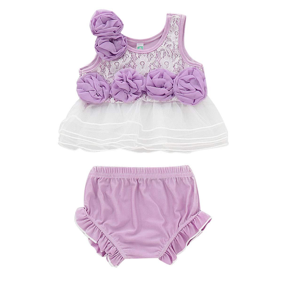puseky 2PCS Baby Girls Sleeveless Floral Lace Shirt Dress Ruffle Shorts Pants Summer Outfits Set