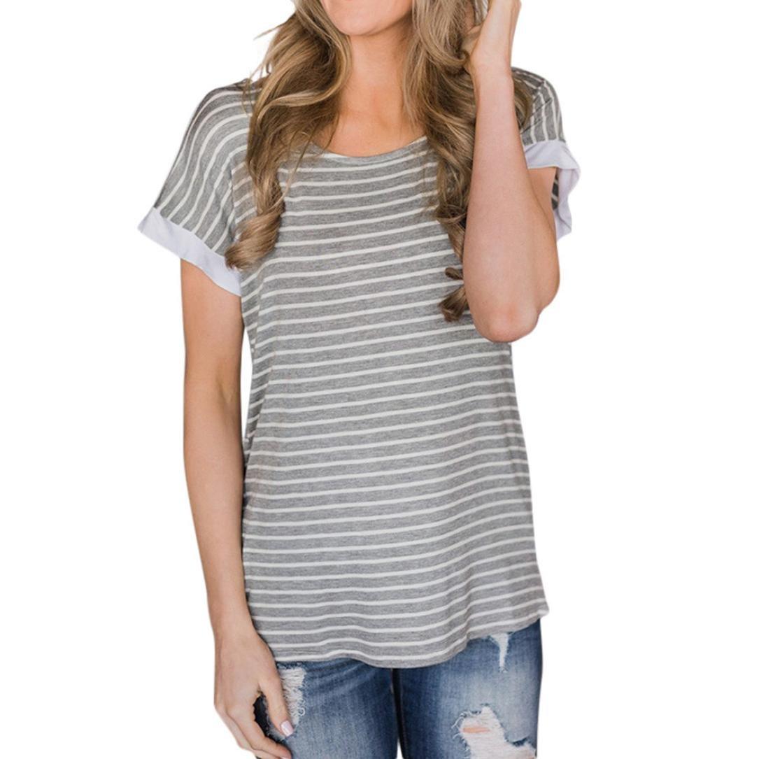 058d6bad356d18 Btruely Damen T Shirt Sommer Frauen Bluse Gestreift Shirt Damen Tops  Rückenfrei Hemd Kurzarm Oberteile Casual